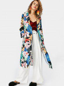 Side Slit Floral Trench Coat - Floral L
