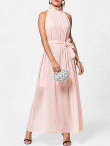 Rüschenkragen Maxi Chiffon Abendkleid - Pink