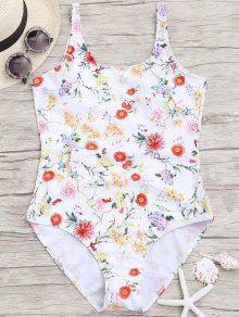 Floral Low Back One Piece Bademode - Weiß M