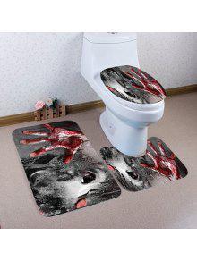هالوين الدموي نمط اليد 3 قطع المرحاض حصيرة حمام حصيرة - رمادي
