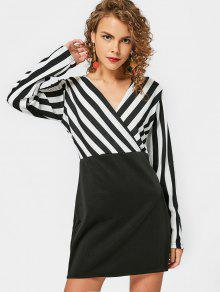 Long Sleeve Stripes Panel Bodycon Dress - White And Black Xl