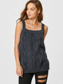 Square Collar Cable Knit Tank Top - Deep Gray