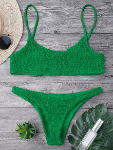 Smocked Bikini Top And Bottoms - Deep Green M