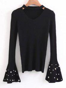 Flare Sleeve Faux Pearl Choker Sweater - Black