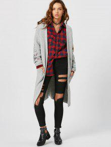 Button Up Pockets Patchwork Cardigan - Light Gray