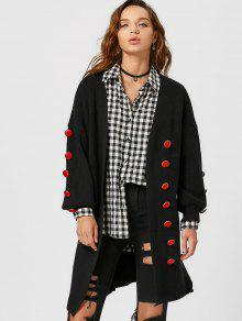 Button Embellished Lantern Sleeve Slit Cardigan - Black