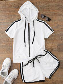 Side Stripe Hooded Top And Shorts Set - White M