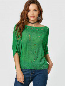 Boat Neck Ripped Knitted Tee - Green