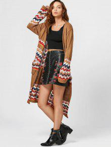Open Front Zigzag Cardigan With Pockets - Coffee