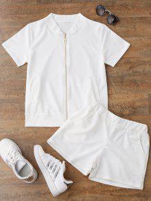 زمم أعلى والسراويل بدلة رياضية - أبيض L