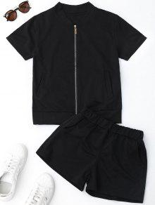 Zip Up Top And Shorts Sport Suit - Black M
