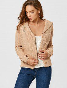 Button Up Pockets Ripped Cardigan - Khaki
