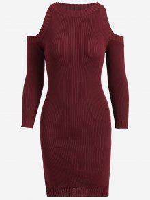 Knitting Slit Cold Shoulder Pencil Dress - Wine Red
