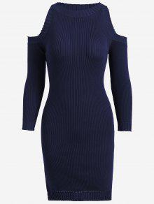 Knitting Slit Cold Shoulder Pencil Dress - Purplish Blue