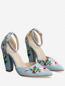 Buy Embroidery Block Heel Two Piece Pumps - LIGHT BLUE 38