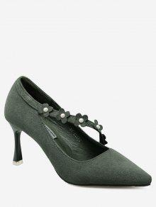 Faux Pearls Flowers Pointed Toe Pumps - Green 37