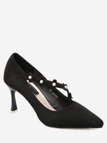 حذاء مدبب عند الأصابع مزين بأزهار ولؤلؤ مزيف - أسود 37