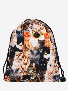 Polyester Cat Printed Drawstring Bag