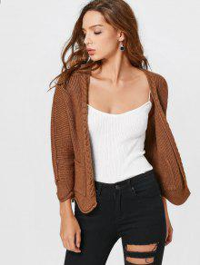 Open Front Plain Cardigan With Pockets - Coffee