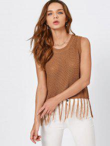 Tassels Knitted Tank Top - Khaki