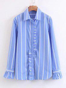 Button Down Stripes Ruffles Shirt - Stripe S
