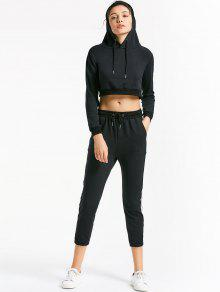 Sporty Drawstring Hoodie With Pants - Black S