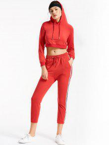 Sporty Drawstring Hoodie With Pants - Red S