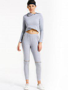 Asymmetric Crossover Hoodie With Jogger Pants - Gray L