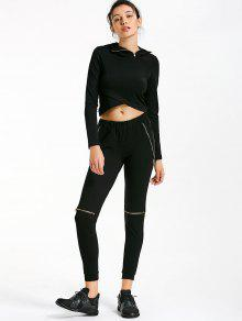 Asymmetric Crossover Hoodie With Jogger Pants - Black M