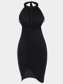 فستان نادي عارية الظهر مطوي انقسام ضيق  - أسود M