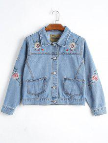 Button Up Floral Embroidery Denim Jacket - Denim Blue M