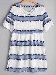 Flare Sleeve Striped Cut Out Dress - Stripe Xl