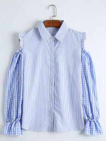Cold Shoulder Striped Checked Shirt - Blue Xl