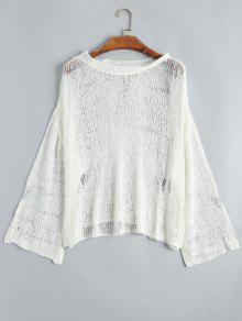 Drop Shoulder Hollow Out Knitted Top - White