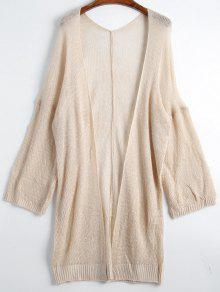 Drop Shoulder Open Front Plain Cardigan - Apricot