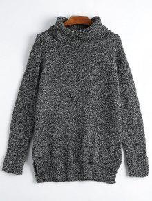 Suéter Con Flecos Laterales De Cuello De Tortuga - Negro