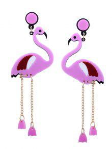Bird Wing Chain Earrings - Pink