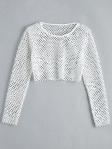 23% OFF  2019 Fishnet Long Sleeve Crop Blouse In WHITE S  94b00a7e487d