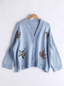 Bird Embroidered Drop Shoulder Cardigan - Light Blue