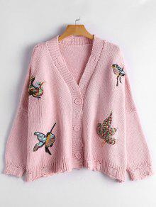 Bird Embroidered Drop Shoulder Cardigan - Pink