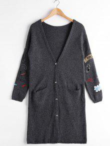 Button Up Pockets Patchwork Cardigan - Deep Gray