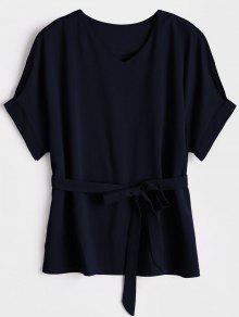 V Neck Belted Blouse - Purplish Blue S