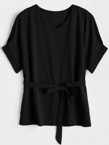 V Neck Belted Blouse - Black L
