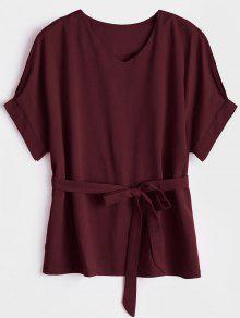 V Neck Belted Blouse - Wine Red S