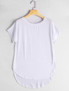Round Collar Plain High Low Tee - White S