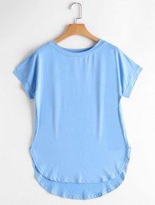 Round Collar Plain High Low Tee - Sky Blue S
