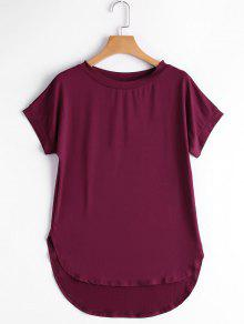 Round Collar Plain High Low Tee - Deep Red S