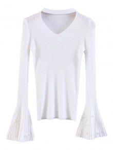 Flare Sleeve Faux Pearl Choker Sweater - White