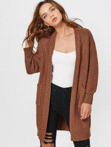 Open Front Long Cardigan With Pockets - Coffee