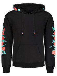 سترة الأزهار طباعة هوديي - أسود 2xl